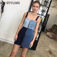 2018 spring and summer new foreign trade women's color patchwork spaghetti strap zipper tube top denim dress