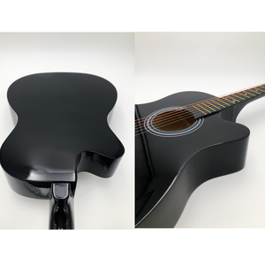Image 5 - 38/41 inch Acoustic Guitar Folk Guitar for Beginners 6 Strings Basswood with Sets Black White Wood Brown Guitar AGT16