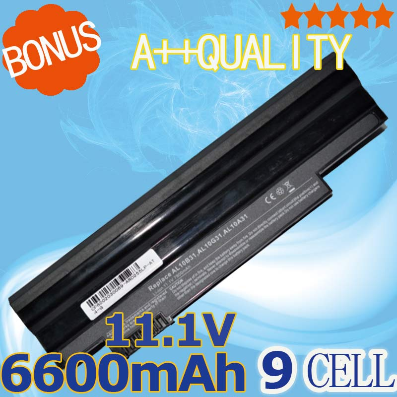6600mAh battery  for  Acer  Aspire One 522 D255 722 AOD255 AOD260 D255E  D257  D257E  D260  D270  E100  AL10A31 AL10B31 AL10G31