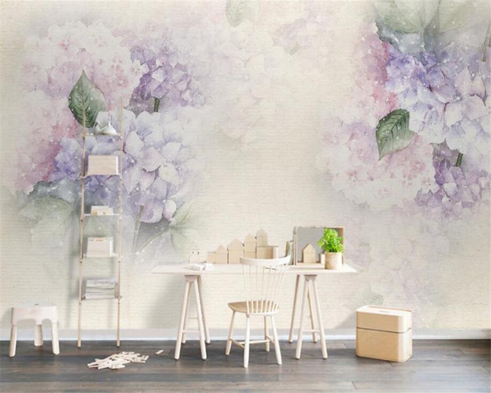 Beibehang Custom Wallpaper Living Room Background 3D Wallpaper Purple Hydrangea Leaf Butterfly Photo Mural 3D Wallpaper Behang