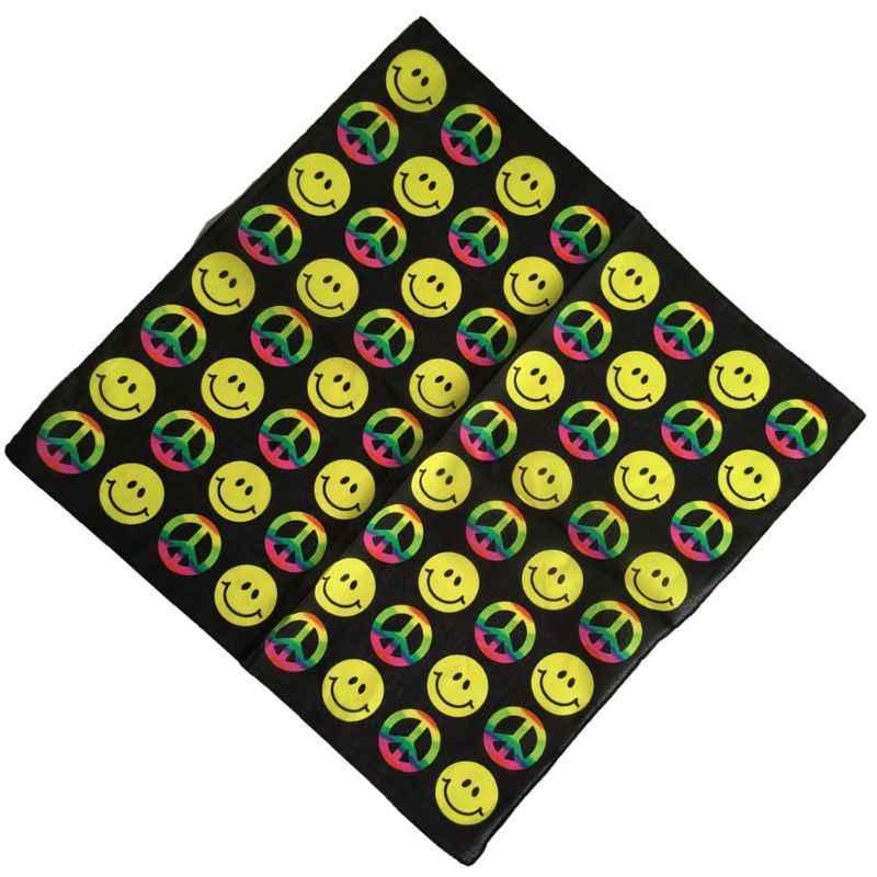 ユニセックスカラフルな幾何学笑顔顔平和シンボル綿ポケット正方形のスカーフ夏のヘッドバンドバンダナヒップホップリストバンドネクタイ