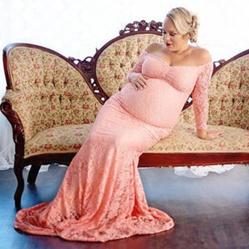2017 New Style Maternity Dress Photo Shoot Maxi Maternity Gown Long Maternity Lace Gown Sexy Maternity Photography Props