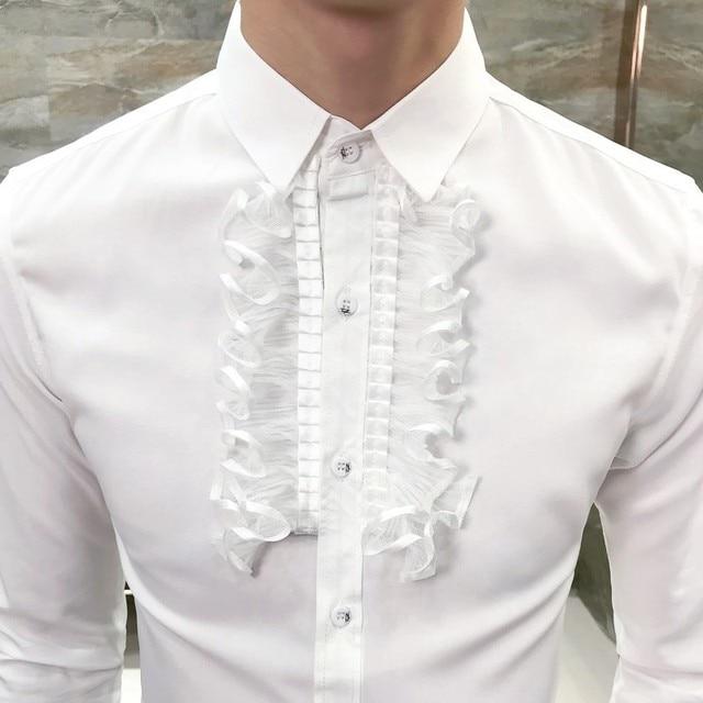 Ruffle Tuxedo Shirt Men 2018 New Autumn Long Sheeve Dress Shirt Men For Wedding Camisa Masculina Gothic Solid Shirt Men 5