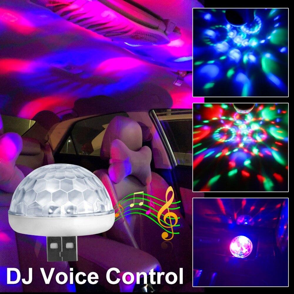 DJ Voice Control Car Decorative LED Lamp Magic Ball Light RGB Interior Lights USB Crystal Stage Lights 3W Mini Colorful DJ Bulb