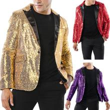 Gold sequins blazer men suits designs jacket mens stage costumes for singers clothes dance star style dress rock masculino homme