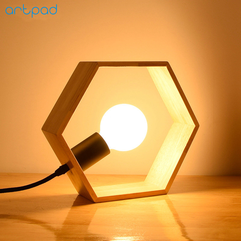 Artpad Modern Bedroom LED Bedside Table Lamp Lights Wood/Wooden Triangle Sexangle Square Study Desk Lamps Lighting With Switch north european style retro minimalist modern industrial wood desk lamp bedroom study desk lamp bedside lamp