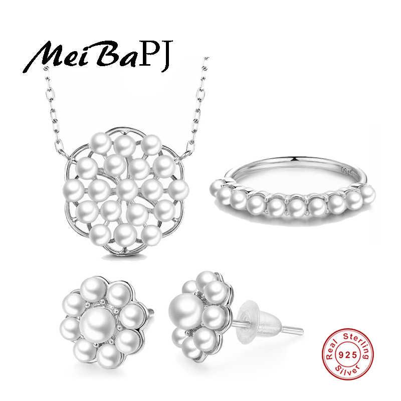 [MeiBaPJ] Novo Luxo Conjunto de Jóias de Pérolas de Água Doce 925 Prata Maciça Conjunto Colar de Flores De Moda de Casamento Jóias Charme
