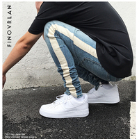 Kanye Weist Black Skinny Jeans Men Hip Hop Stripe Ripped Elastic Slim Fit Jeans Male Stretchy
