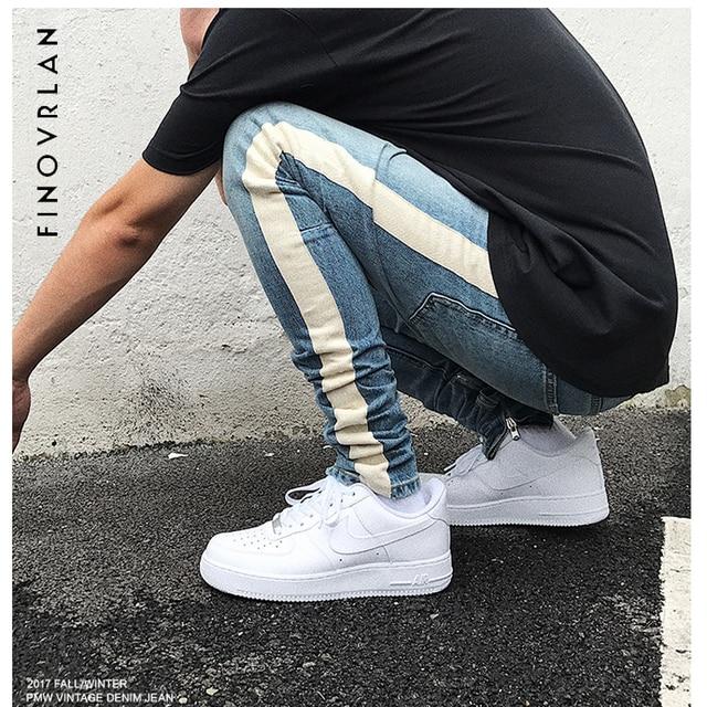 bf6e07add55 kanye weist black Skinny Jeans Men Hip Hop stripe Ripped Elastic Slim Fit  Jeans Male Stretchy
