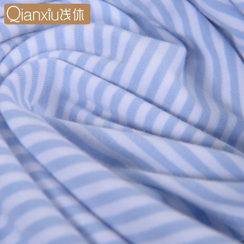 Qianxiu Pajamas For Men Summer Stripes Cotton Women&Men Pajama set Short sleeve shorts Lounge Wear 91416