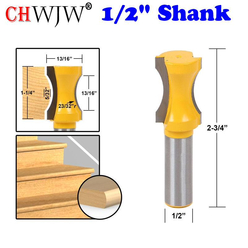 1pc 1/2 Shank 23/32 Radius Convex Column/Face Molding Router Bit Line knife Door knife Tenon Cutter for Woodworking Tools
