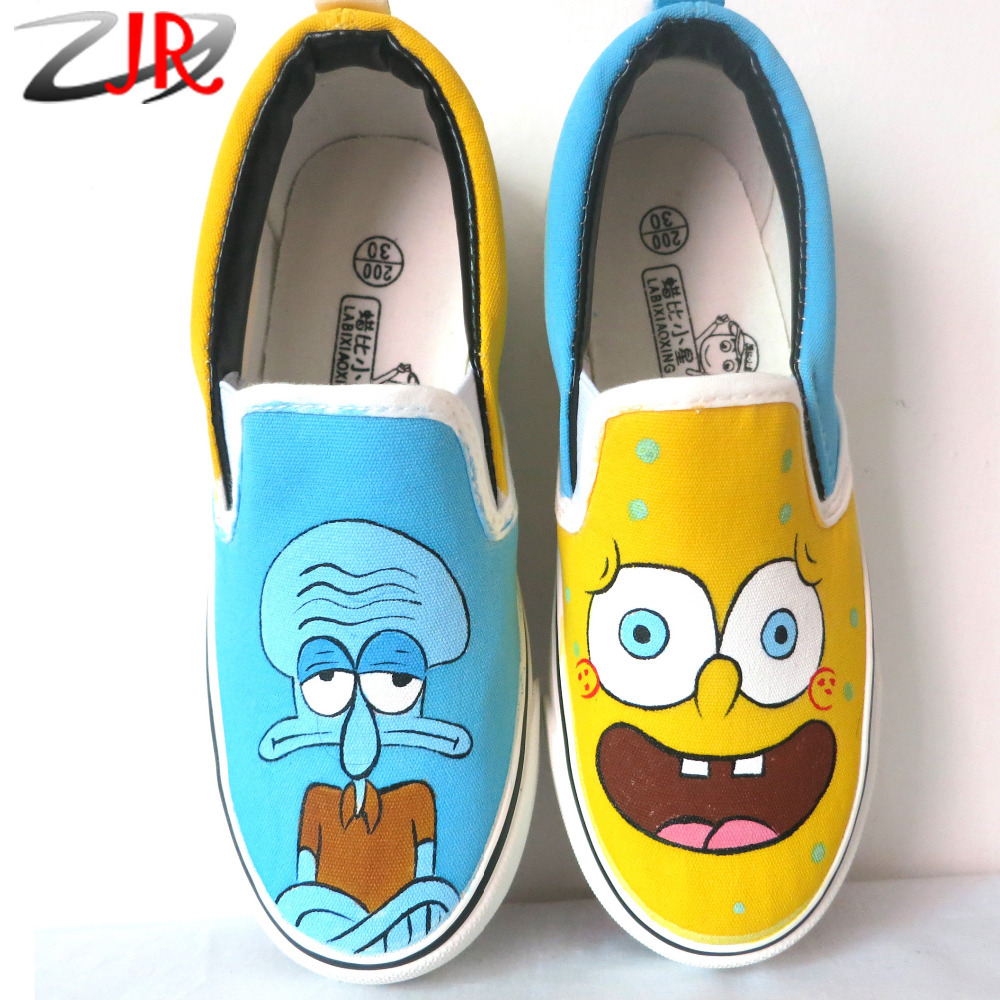 Spongebob Baby Style Four Seasons Canvas Shoes For Kids Children Sneakers Boys Low Child Hand