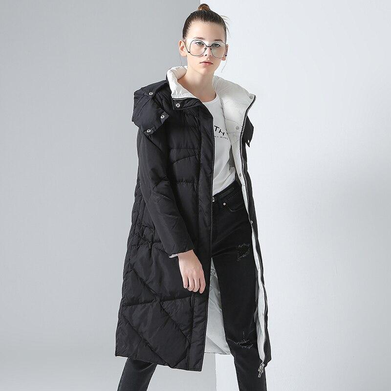 Toyouth Luxury Winter Down Jackets Women Cotton Padded Long Hooded Jacket Outerwear Argyle   Parkas   Overknee Warm Coat