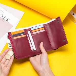 Image 4 - Contacts billeteras de piel auténtica para mujer, Tarjetero con cremallera, monedero pequeño, bolso de mano, billetera