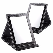 Black Size S:12*17.5*1.6CM Alligator Pattern Portable Foldable Makeup Mirror Leather Cosmetic Mirror Women Beauty Make Up