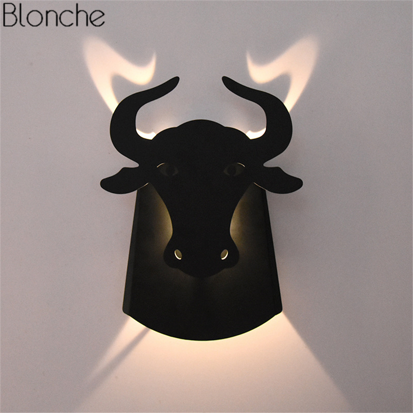 Nordic Bull Head LED Wall Lamp Cow Metal Wall Sconce Modern Lights for Living Room Bedside Aisle Corridor Light Fixtures Decor