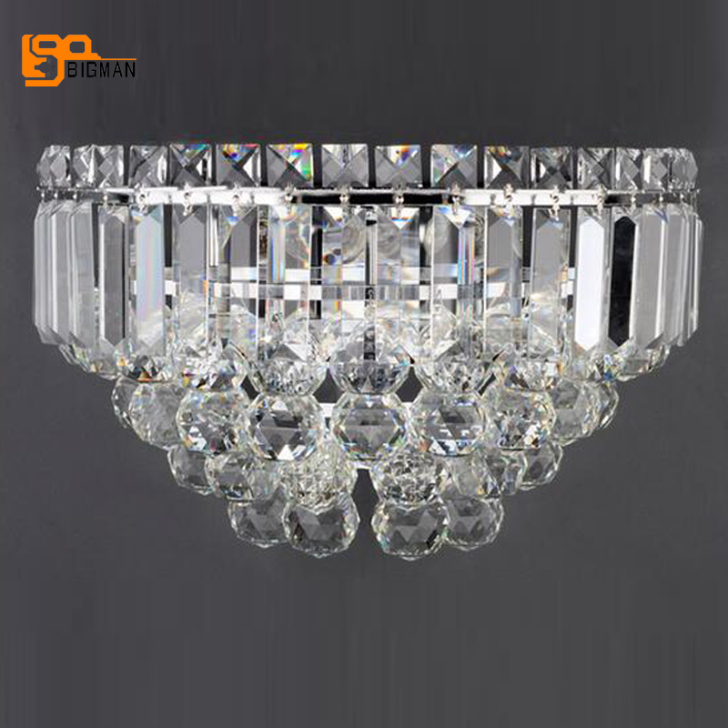 beautiful crystal wall lamp lustres modern wall lighting chrome wall lights for home ...