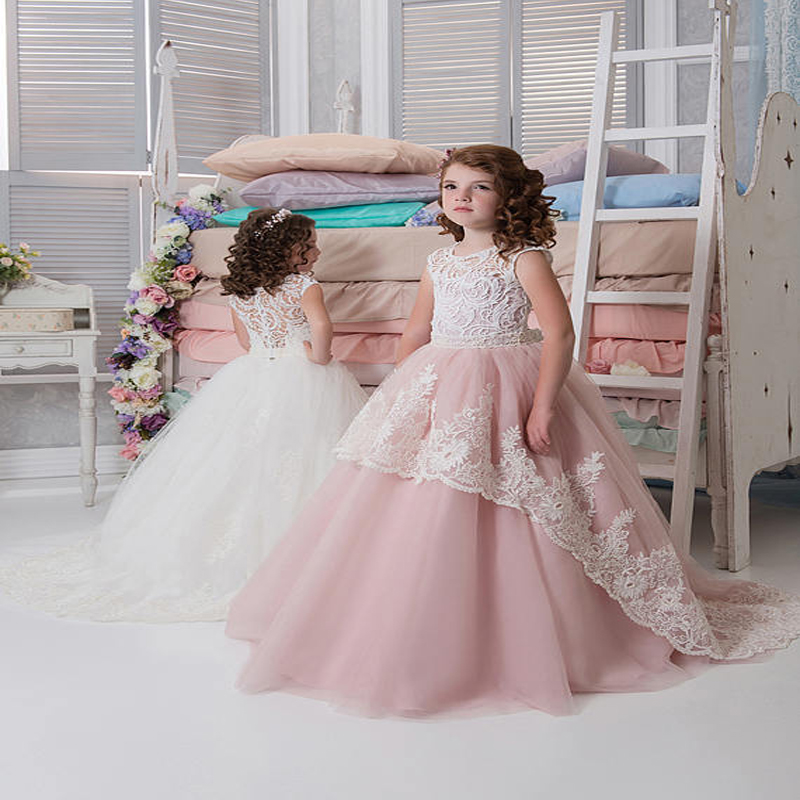 2017 Lace Ball Gown Lace Flower Girl Dresses For Wedding Long Sleeve Mother Daughter Dressess for Girls Ankle-Length Girls Dress trendy see through off the shoulder long sleeve lace blouse for women