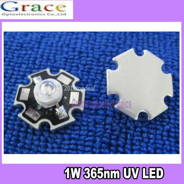 10pcs 1W 365nm UV LED ultraviolet LED lamp light High Power with 20mm base