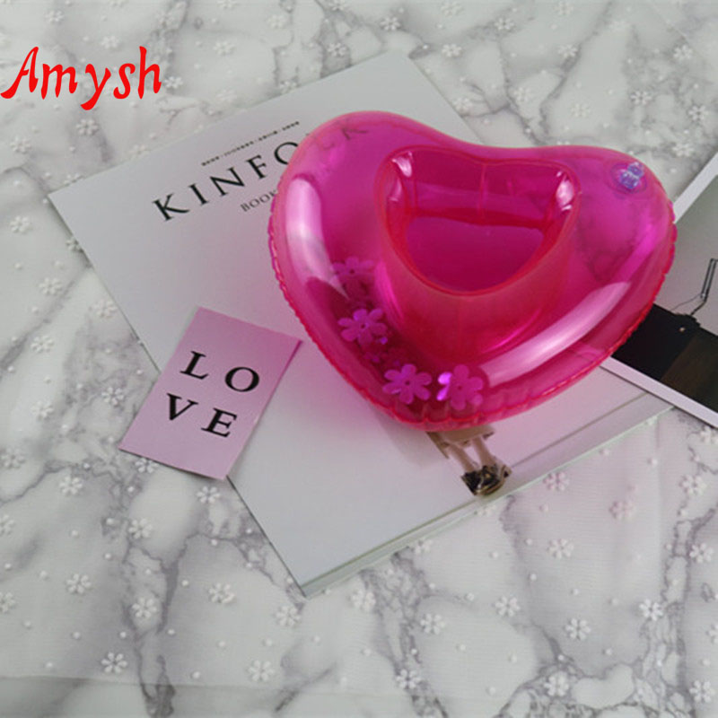 Amysh Summer Inflatable Toys cute Drink Can Holder PVC Inflatable Floating loving heart Swimming Pool Bathroom Beach Water Toys