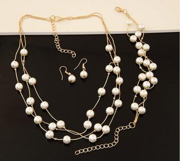 Imitation Pearl Jewelry Set Simulated Pearl Double Layer Women Earrings Necklace Bracelet Sets 3