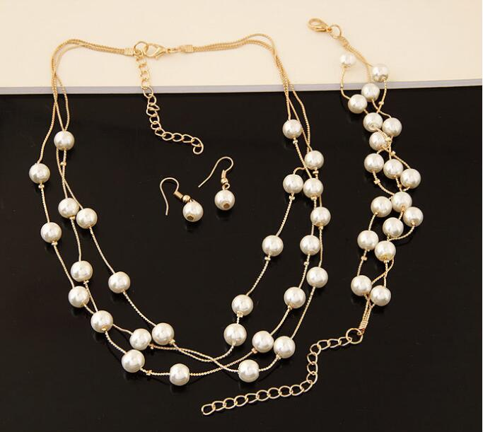 Imitation Pearl Jewelry Set Simulated Pearl Double Layer Women Earrings Necklace Bracelet Sets for Wedding N271