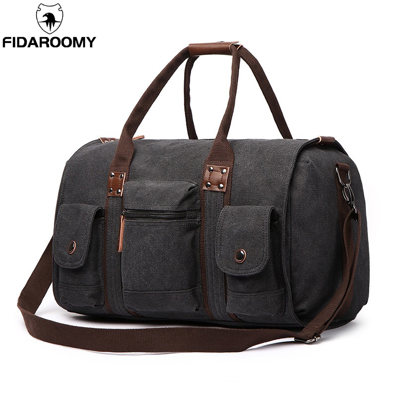 Travel Bag Large Capacity Men Hand Luggage Travel Duffle Bags Canvas Weekend Bags Business Trip Multifunctional Travel Bags-in Travel Bags from Luggage & Bags