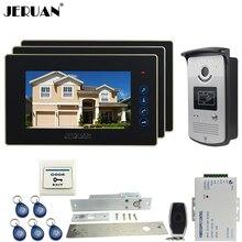 "JERUAN three desk 7"" Touch video doorphone intercom systemr+700TVL IR Night Vision camera+Electric Drop Bolt lock+FREE SHIPPING"