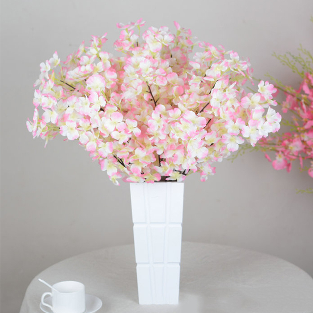 5 Heads Cherry Blossom Plastic+Silk Quality Artificial Flowers For ...