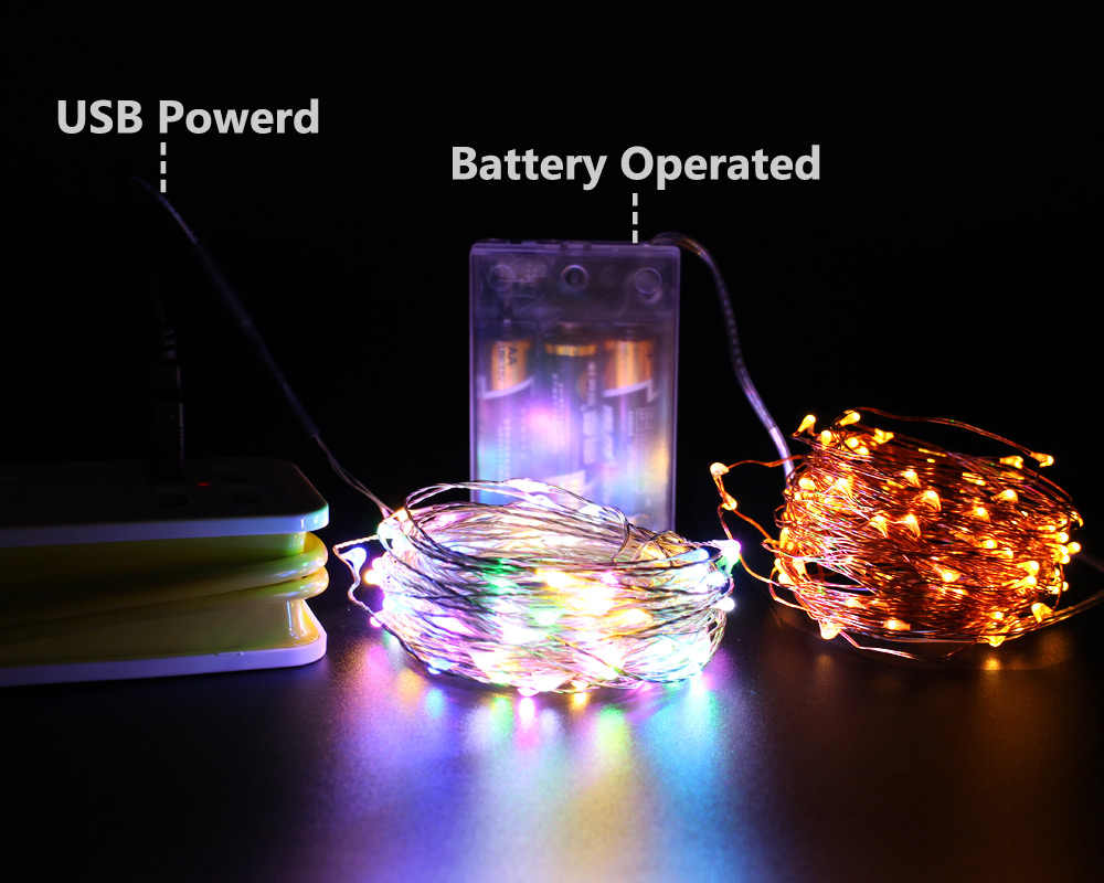 Led String Fairy Lights Usb Battery Ed Remote Waterproof Christmas Decor Party Outdoor Garland Copper Wire