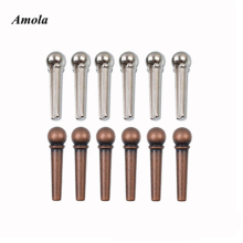 6pcs Metal Classical  Ukulele Acoustic Guitar Bone Material Bridge Pins Guitar Strings Pegs Folk Acoustic Guitar Bridge Pin