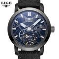 LIGE Sport Reloj Militar Del Relogio Marca de Lujo de Los Hombres Relojes Mecánicos de Cuero Hollow Esqueleto reloj Relojes Hombre