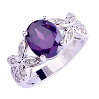 Buterfly Style Jewelry Enchanting Women Rings Oval Cut Purple Amethyst 925 Silver Ring Size 7 8 9 10 Free Shipping Wholesale