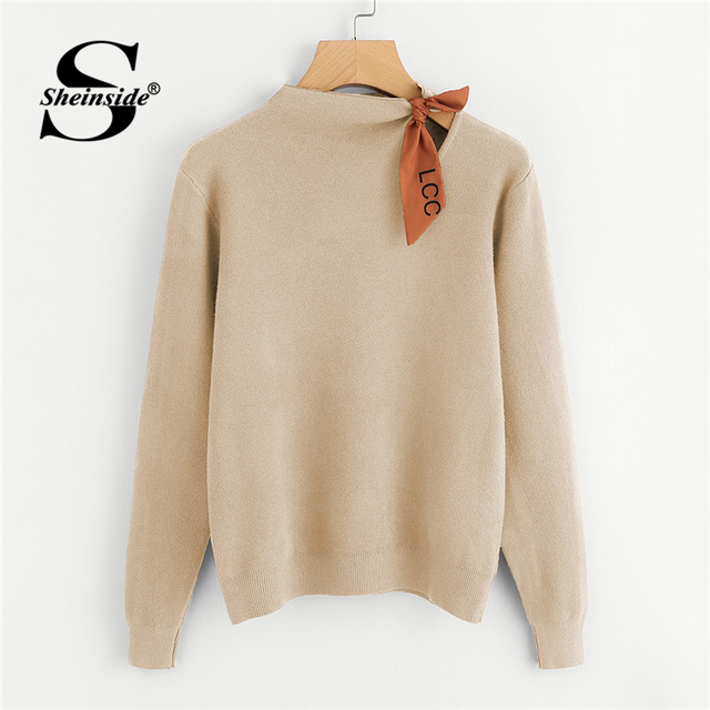 667647ee78 Sheinside Apricot Knotted Detail Jersey Jumper Casual Long Sleeve Pullover  Woman