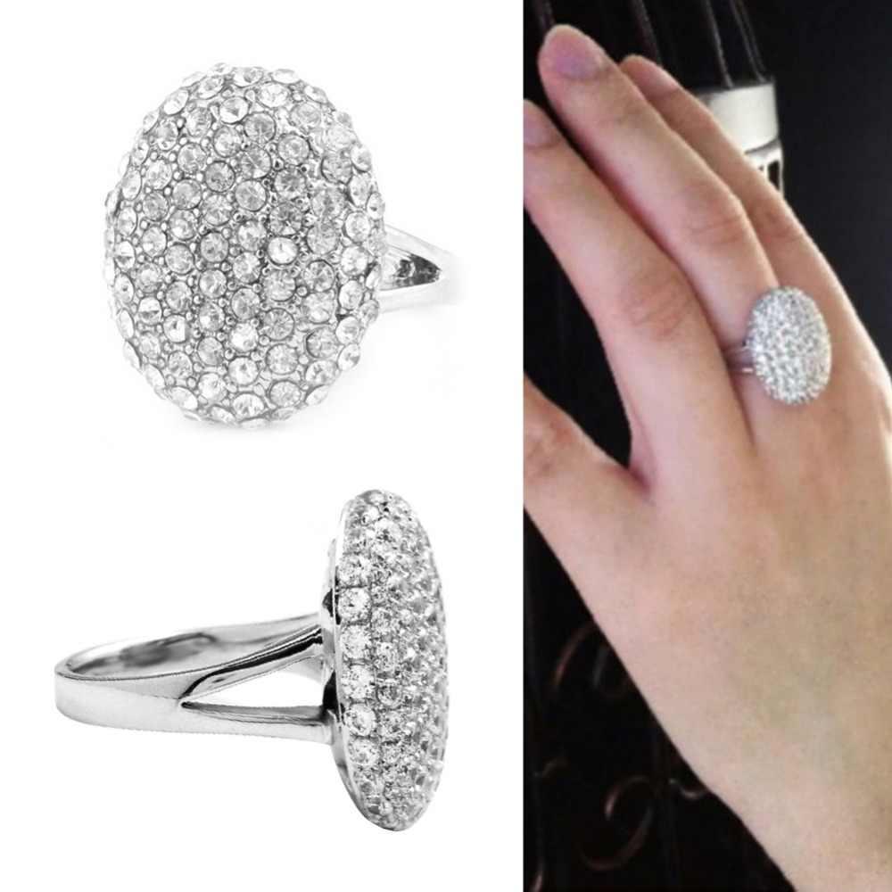 Duży wieloaspektowy do cięcia kryształowe obrączki dla kobiet posrebrzane pierścionki biżuteria rozmiar 6-10 #2018