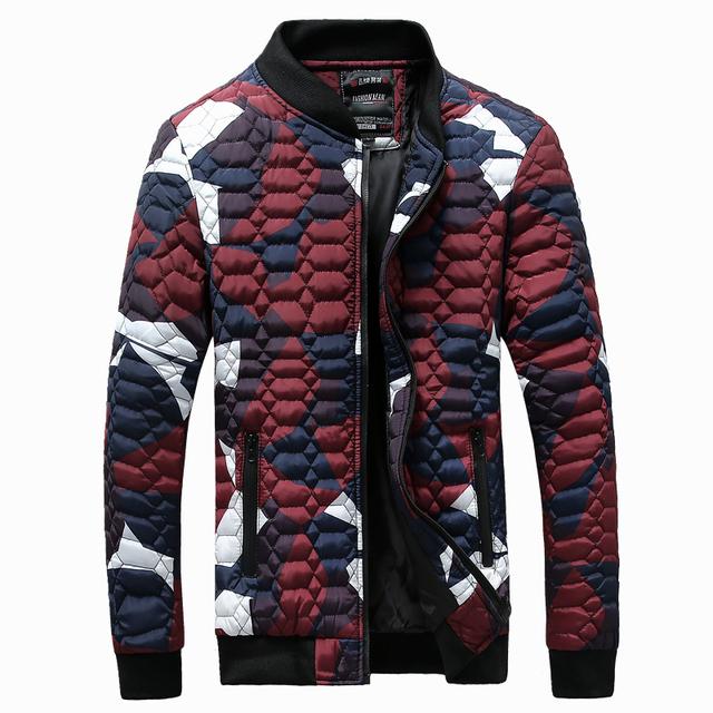 Os recém-chegados homens moda camuflagem do exército jaqueta de inverno com capuz para baixo parka 2 cores m l xl xxl 3xl aa9
