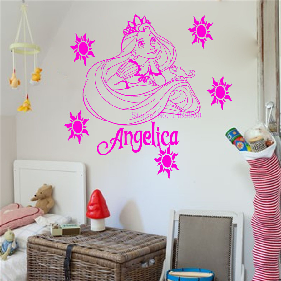E231 Princess Rapunzel Tangled Wall Stickers For Kids Room Decor Decor Diy Poster Vinyl Wall Decal
