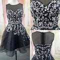 Real Images Black Short Prom Cocktail Party Dresses Sleeveless Sparkly Beaded Crystals Juniors robe de cocktail 2016 Elegant