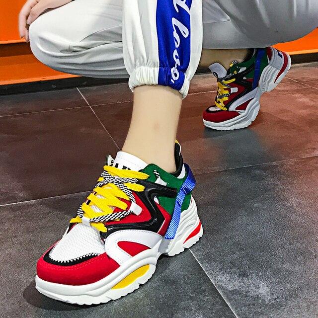 Для женщин кроссовки амортизацию обувь с дышащей сеткой увеличивающие рост 6 см INS Ulzza кроссовки Harajuku Уличная обувь на плоской подошвеобувь для прогул