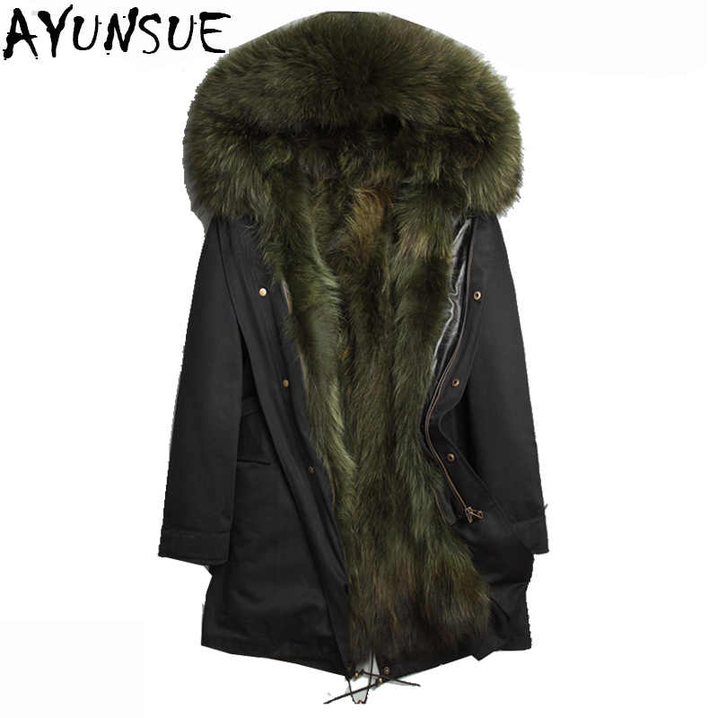 fd3c508368aad AYUNSUE Men Real Fur Coat Winter Luxury Natural Raccoon Fur Parka Male Long  Hood Overcoat Outwear