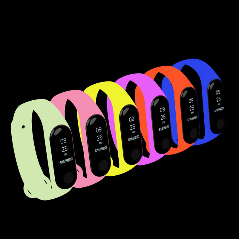 Mi Band 3 Luminous Silicone Wrist Strap For Xiaomi Mi Band 3 Bracelet Strap Glow In The Dark Smartwrist Band Night Light Bands