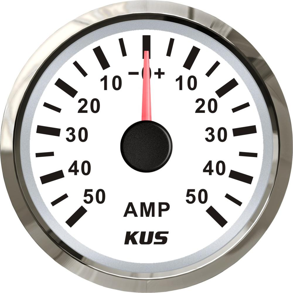 KUS Waterproof Ampere Gauge Ammeter AMP Meter 50A With Current Sensor 52MM 2 With Backlight 12V