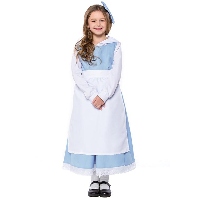 Teen   Kid Girls Beauty   Beast Belle Princess   Anice Maid Costume White Blue  Maid e5aac01ab31c