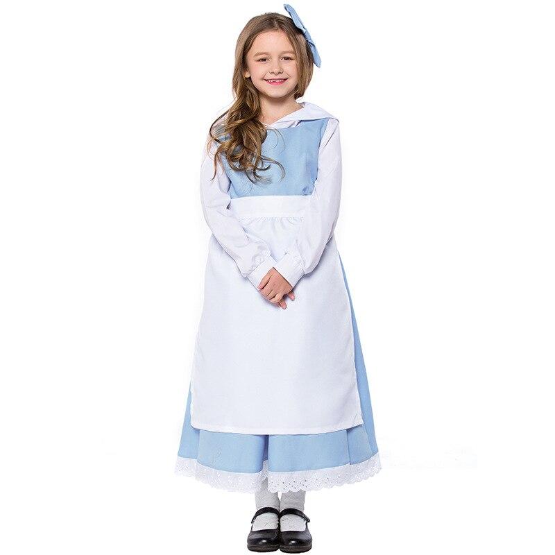 Teen & Kid Girls Beauty & Beast Belle Princess & Anice Maid Costume White Blue Maid Apron Dress Fancy Uniform For Child