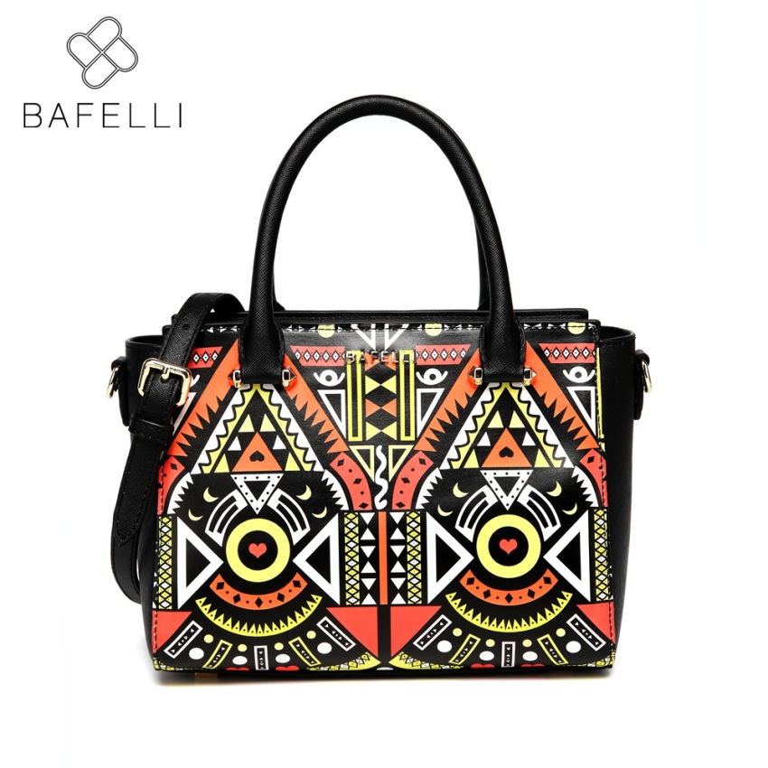 BAFELLI split leather fashion national shoulder bag cartoon printing creative crossbody handbag hot sale women messenger bag