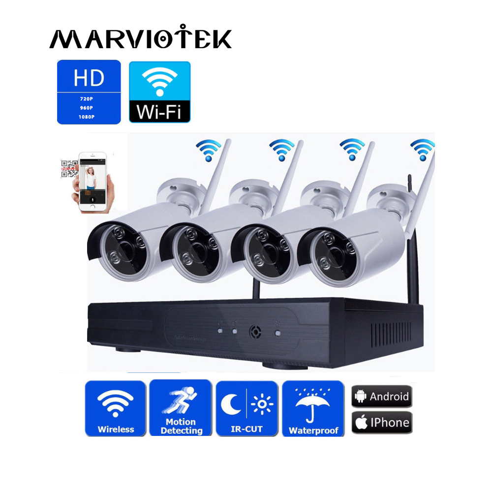 4CH 1080P Wireless Security Camera System CCTV System 720P IP Camera Wifi NVR Kit Outdoor P2P Video Surveillance Wifi camera Set