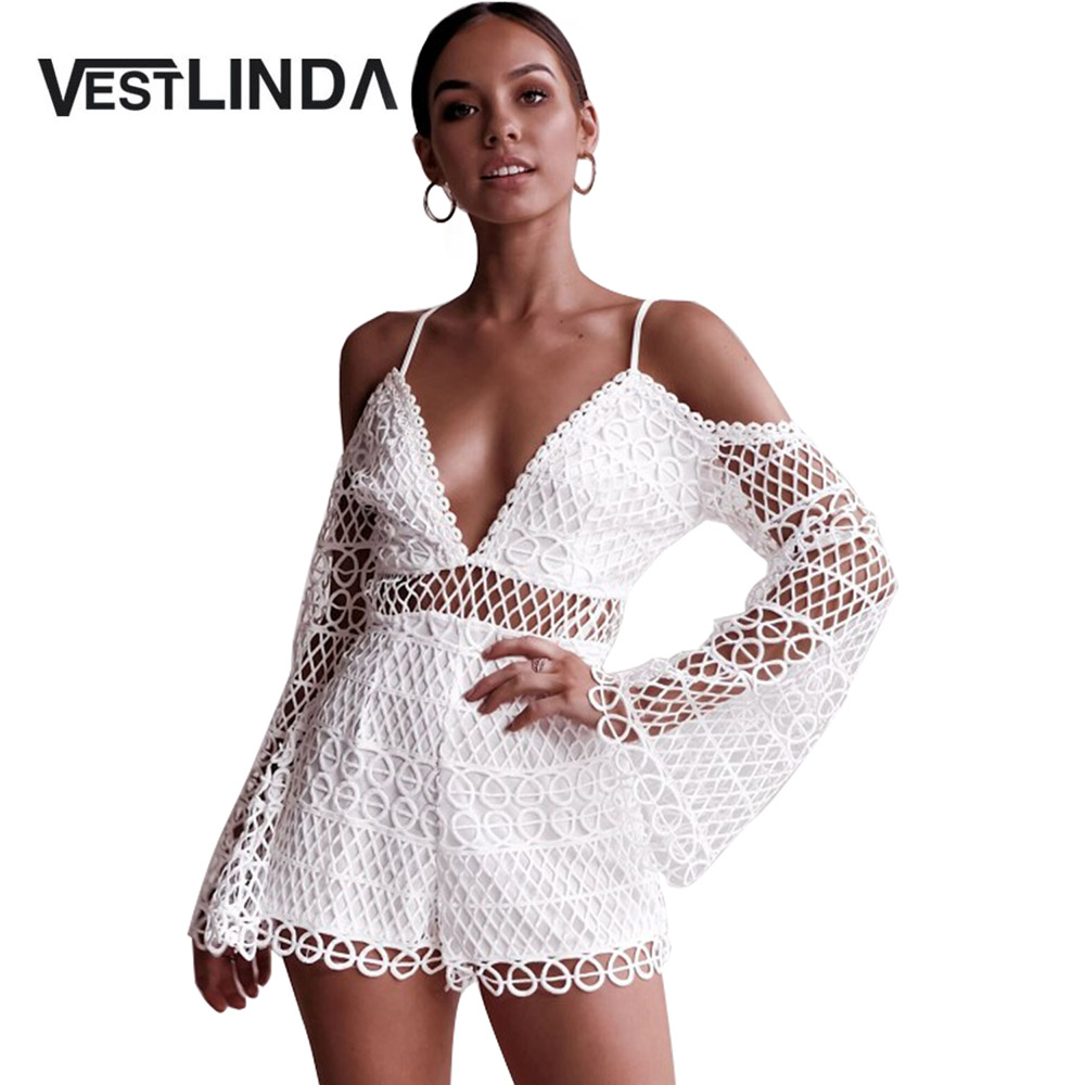 VESTLINDA White <font><b>Jumpsuit</b></font> Shorts Lace Hollow Out V Neck Spaghetti Straps Cold Shoulder Romper Women Streetwear <font><b>2018</b></font> <font><b>Sexy</b></font> <font><b>Jumpsuit</b></font> image