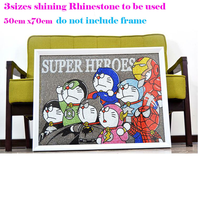 5D Diamond Painting Doraemon Diy 5D Diamond Painting Cartoon Super Hero Full Embroidery 3 size Round