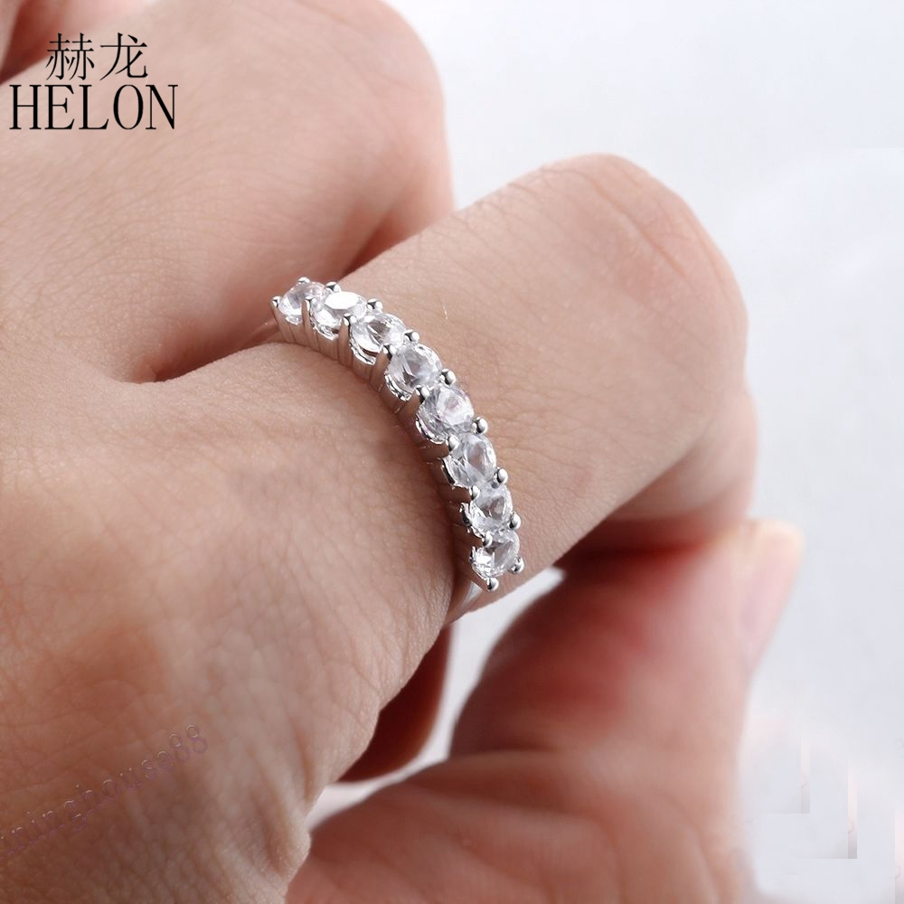 HELON Solid 10K White Gold Eternity 3mm Round Shape White Topaz ...