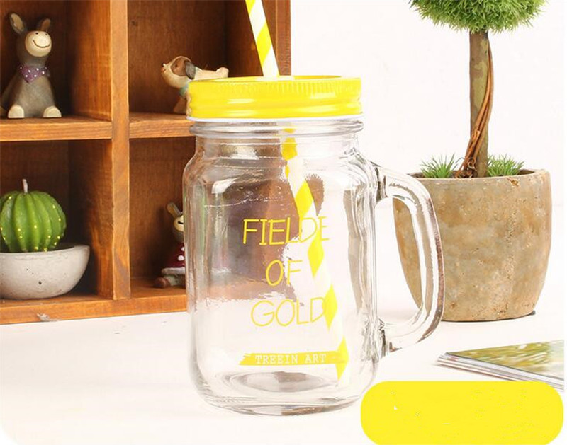 16oz Regular Mouth Cold Beverage Glass Water Mason Jars Bottle With Words Print icecream Fruit Installed With Cover and Straws